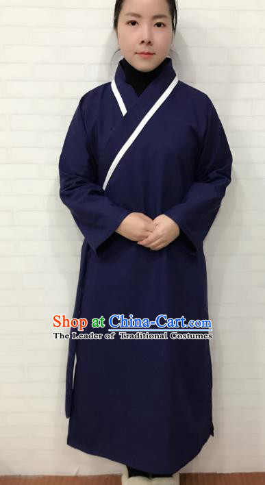 Chinese Traditional Martial Arts Taoist Nun Costumes Tai Chi Kung Fu Navy Cotton-padded Priest Frock for Women