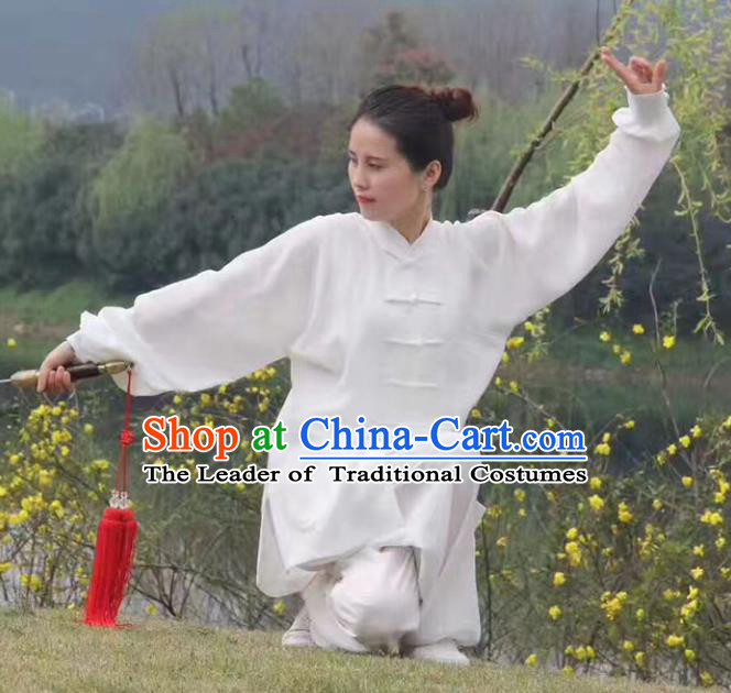 Chinese Traditional Martial Arts Costumes Tai Chi Kung Fu White Suits for Women