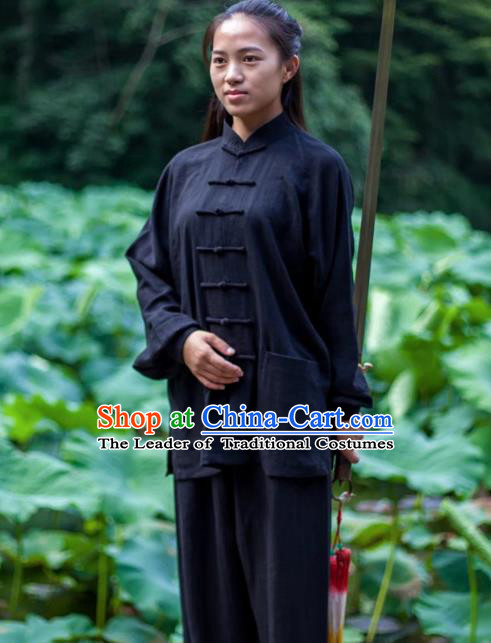 Chinese Traditional Martial Arts Costumes Tai Chi Kung Fu Black Suits for Women