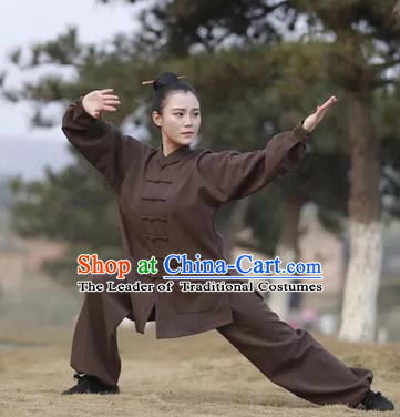 Chinese Traditional Martial Arts Costumes Tai Chi Kung Fu Brown Suits for Women