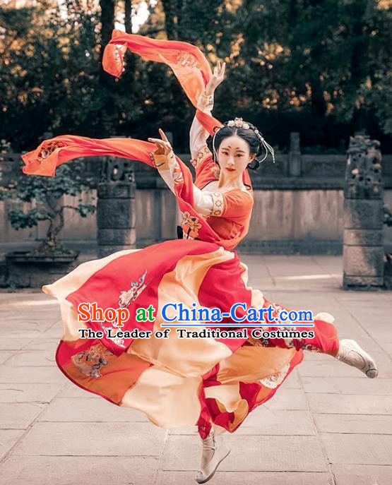 Ancient Chinese Tang Dynasty Palace Lady Dance Hanfu Dress Princess Embroidered Costume for Women