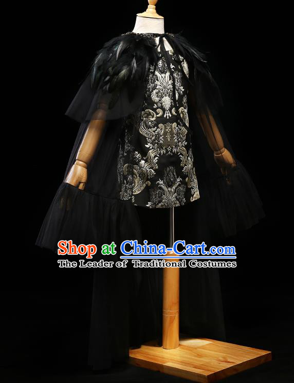 Children Modern Dance Costume Compere Full Dress Stage Piano Performance Princess Black Veil Dress for Kids