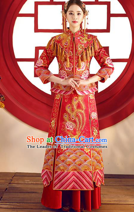 Top Grade Chinese Traditional Wedding Costumes Xiuhe Suits Bride Red Embroidered Dress for Women