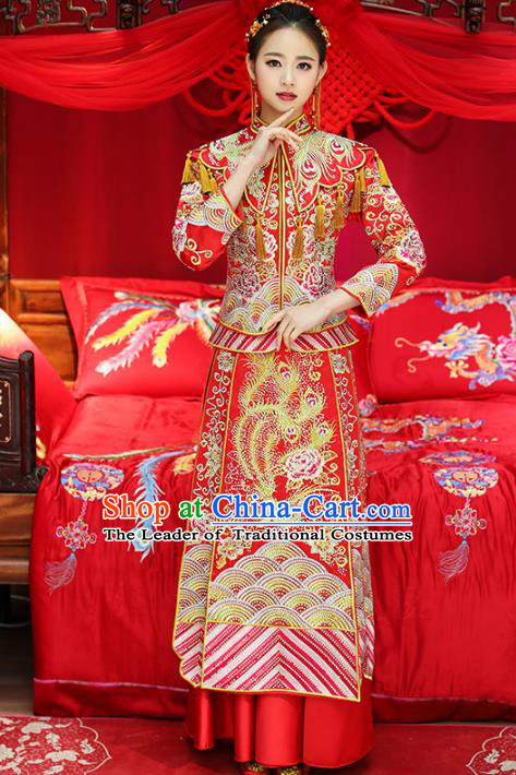 Top Grade Chinese Traditional Wedding Costumes Bride Embroidered Diamante Xiuhe Suits for Women