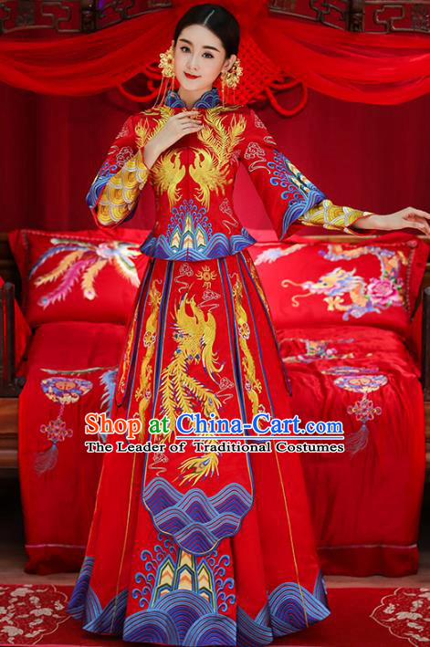 Top Grade Chinese Traditional Wedding Costumes Longfeng Flown Bride Embroidered Trailing Xiuhe Suits for Women