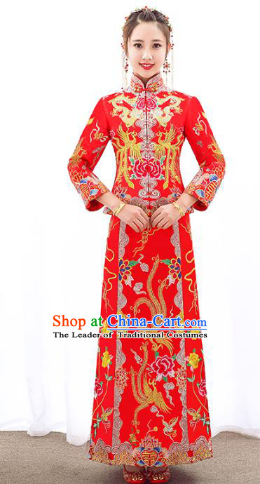 Chinese Traditional Embroidered Phoenix Wedding Costumes Ancient Longfeng Flown Bride Xiuhe Suits for Women