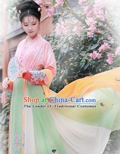 Chinese Tang Dynasty Nobility Lady Hanfu Dress Ancient Peri Embroidered Costume for Women
