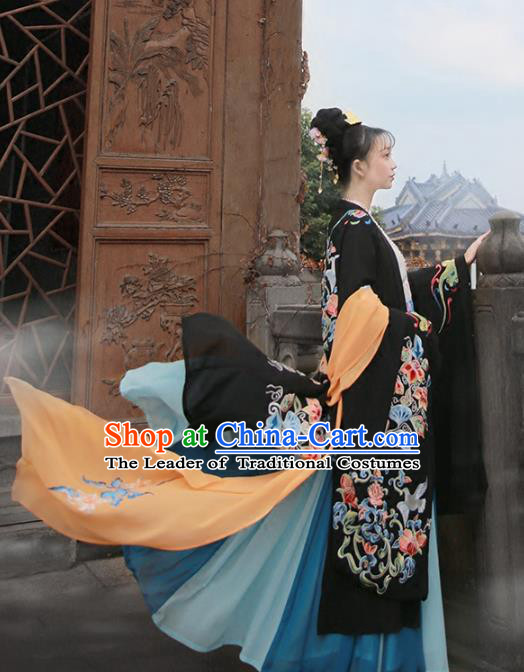 Chinese Tang Dynasty Imperial Consort Costume Ancient Peri Embroidered Black Wide Sleeve Cardigan for Women