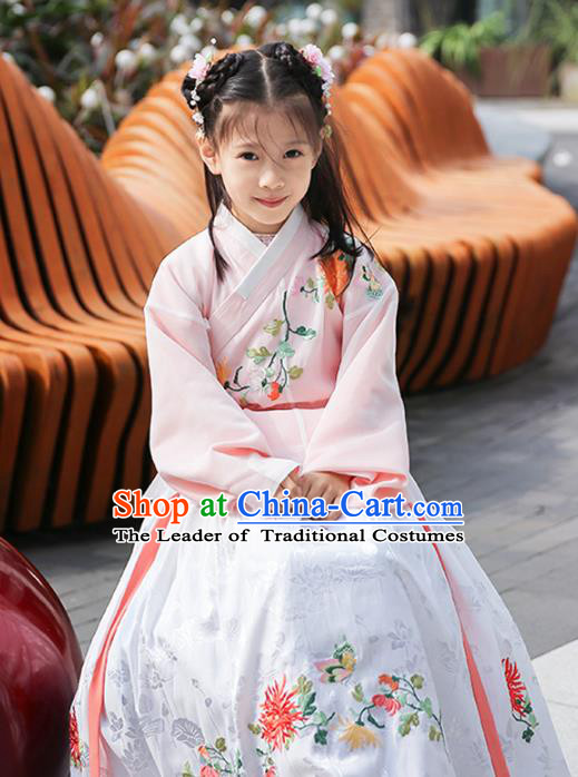 Chinese Ancient Ming Dynasty Princess Costumes Children Embroidered Hanfu Clothing for Kids