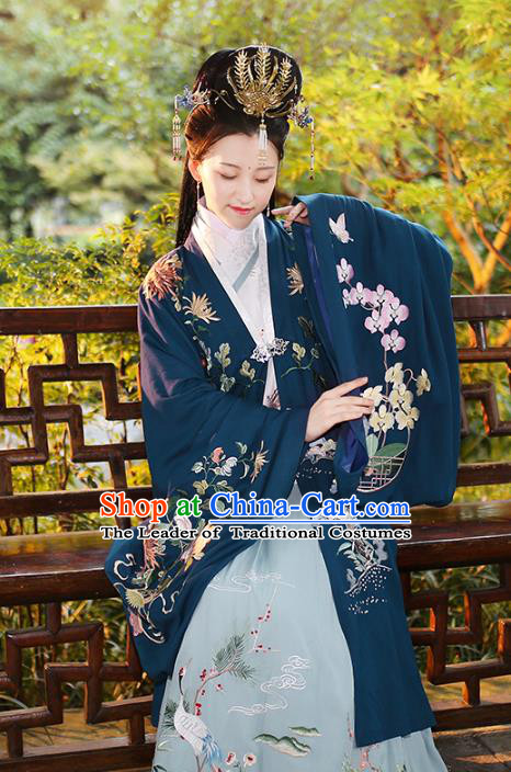 Chinese Ancient Ming Dynasty Imperial Consort Hanfu Dress Embroidered Costumes Complete Set for Women