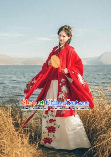Chinese Ming Dynasty Imperial Concubine Embroidered Costume Ancient Palace Lady Hanfu Dress for Women