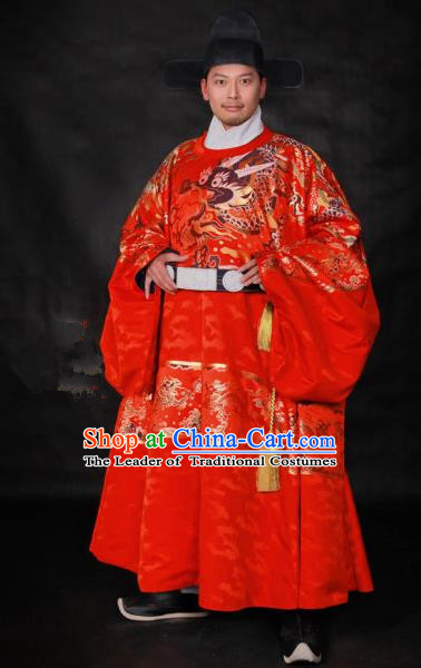 Chinese Ming Dynasty Emperor Embroidered Costume Ancient King Imperial Robe for Men
