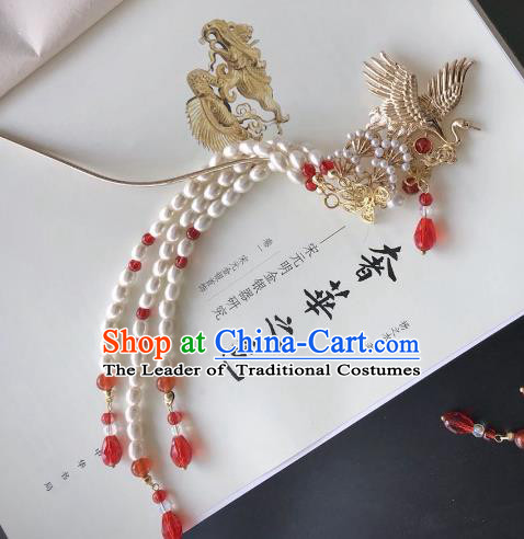 Chinese Traditional Hair Accessories Pearls Tassel Step Shake Hair Stick Ancient Crane Hairpins for Women