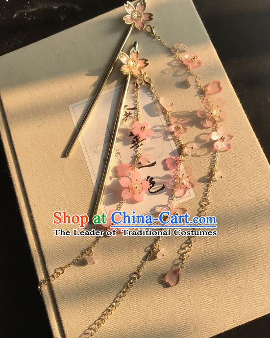 Chinese Traditional Hair Accessories Ancient Hanfu Plum Blossom Tassel Hair Clip Hairpins for Women