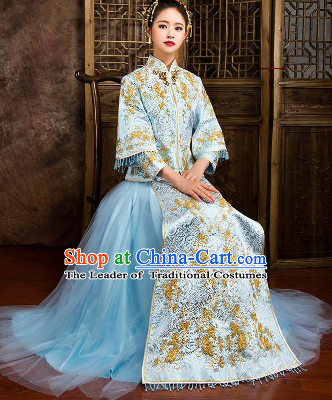 Traditional Chinese Bridal Costumes Ancient Bride Wedding Embroidered Beading Blue XiuHe Suit for Women