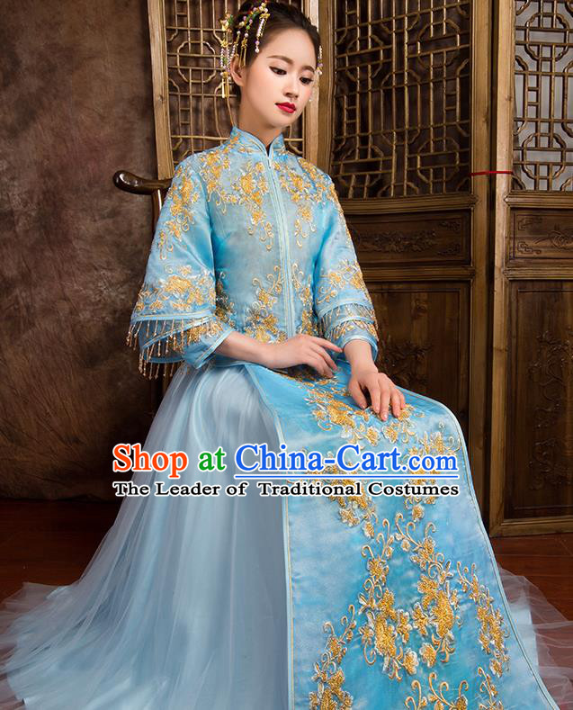 Traditional Chinese Bridal Costumes Ancient Bride Wedding Embroidered Blue XiuHe Suit for Women