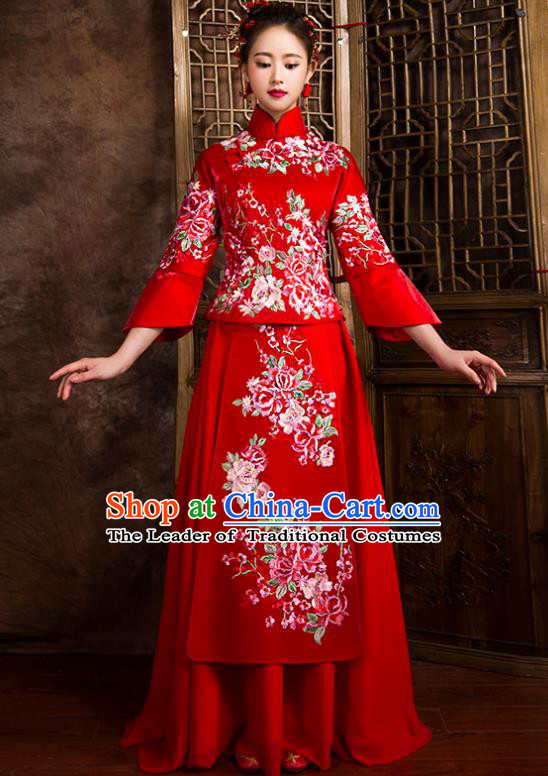 Traditional Chinese Bridal Costumes Ancient Bride Toast Clothing Wedding Embroidered Peony XiuHe Suit for Women