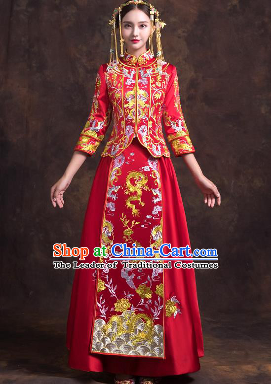 Traditional Chinese Bridal Costumes Ancient Bride Red Embroidered Longfeng Flown Toast Clothing Wedding XiuHe Suit for Women