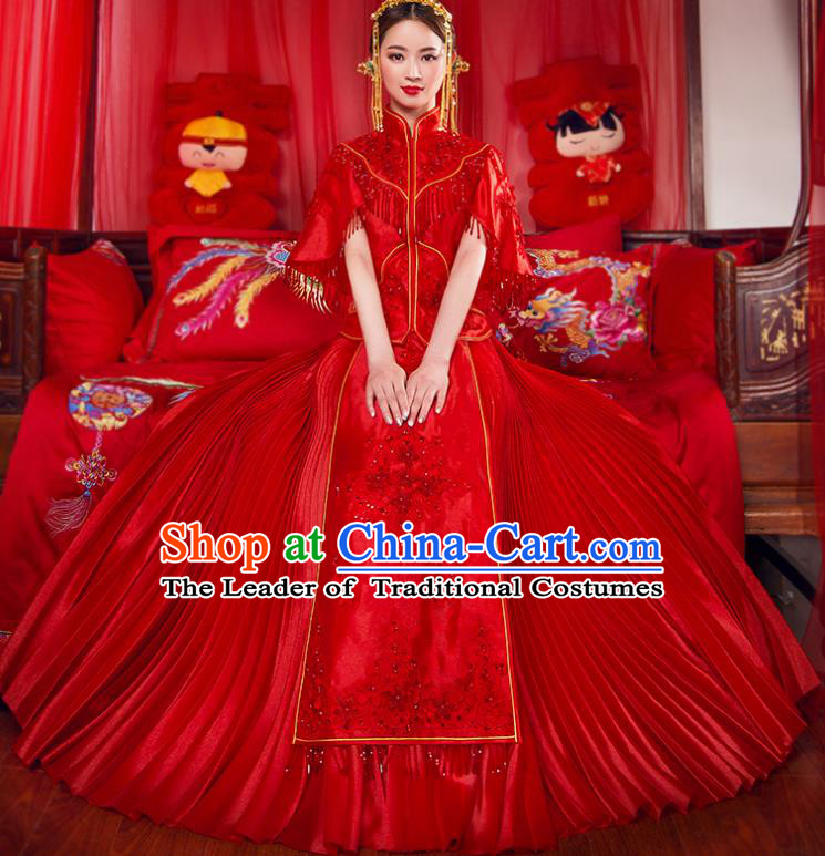 Traditional Chinese Bridal Wedding Costumes Ancient Bride Red Embroidered Longfeng Flown XiuHe Suit for Women