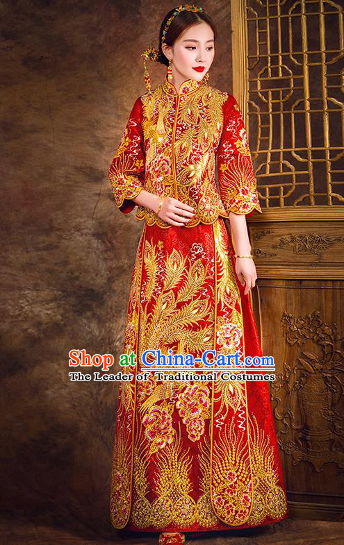 Traditional Chinese Female Wedding Costumes Ancient Embroidered Peony Flowers Full Dress Red XiuHe Suit for Bride