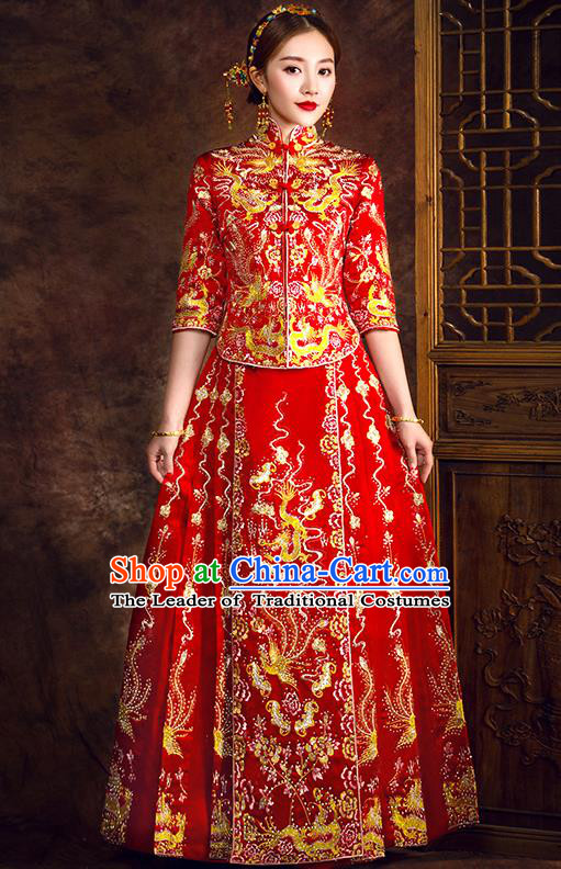 Traditional Chinese Female Wedding Costumes Ancient Embroidered Dragon Phoenix Full Dress Red XiuHe Suit for Bride