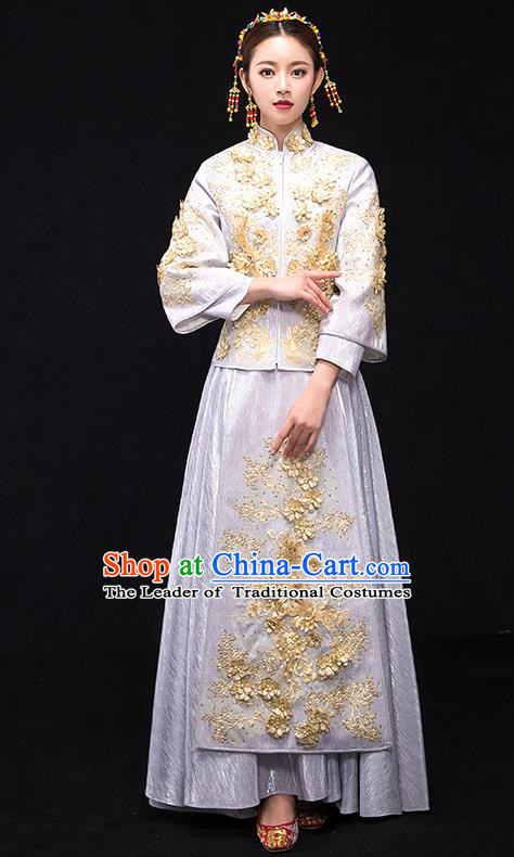 Traditional Chinese Female Wedding Costumes Ancient Embroidered White Full Dress XiuHe Suit for Bride