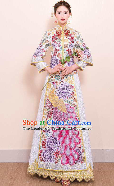 Traditional Chinese Style Female Wedding Costumes Ancient Embroidered Phoenix White Full Dress XiuHe Suit for Bride