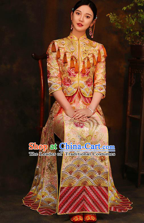 Traditional Chinese Style Female Wedding Costumes Ancient Embroidered Phoenix Peony Pink Full Dress XiuHe Suit for Bride