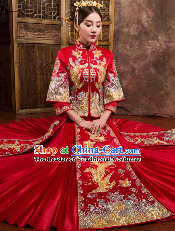 Chinese Traditional Wedding Dress Ancient Bride Embroidered Phoenix Diamante Xiuhe Suit for Women