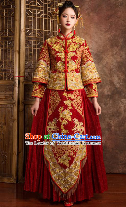 Chinese Traditional Wedding Costumes Ancient Bride Embroidered Peony Diamante Red Xiuhe Suit for Women