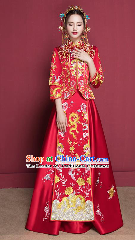 Traditional Chinese Wedding Costumes Full Dress Ancient Red Bottom Drawer Embroidered XiuHe Suit for Bride