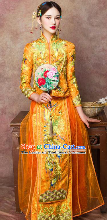 Traditional Chinese Wedding Costumes Embroidered Phoenix Full Dress Yellow XiuHe Suit Ancient Bottom Drawer for Bride