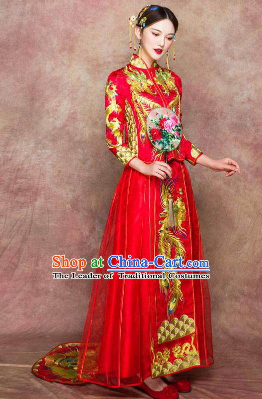 Traditional Chinese Wedding Costumes Embroidered Phoenix Full Dress Red XiuHe Suit Ancient Bottom Drawer for Bride