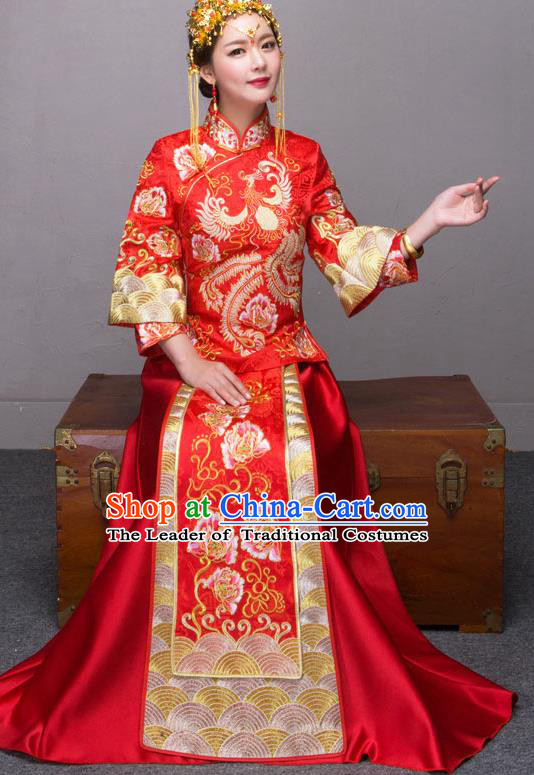 Traditional Chinese Wedding Costumes Embroidered Peony Red Full Dress XiuHe Suit Ancient Bottom Drawer for Bride