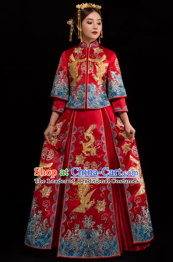 Traditional Chinese XiuHe Suit Wedding Costumes Embroidered Diamante Full Dress Ancient Bottom Drawer for Bride