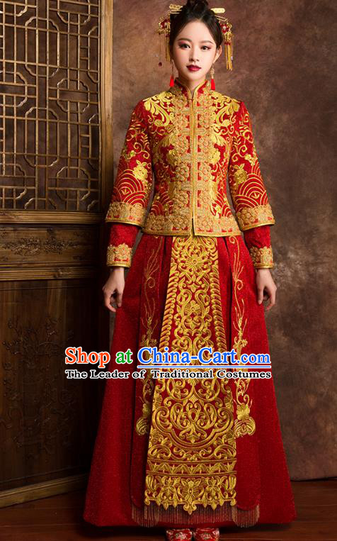 Traditional Chinese Embroidered XiuHe Suit Wedding Costumes Full Dress Ancient Bottom Drawer for Bride