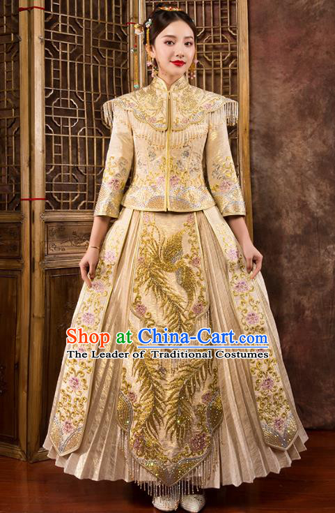 Traditional Chinese Embroidered Diamante Golden XiuHe Suit Wedding Costumes Full Dress Ancient Bottom Drawer for Bride