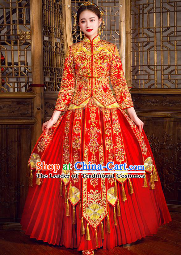 Traditional Chinese Embroidered Peony Diamante Red XiuHe Suit Wedding Costumes Full Dress Ancient Bottom Drawer for Bride