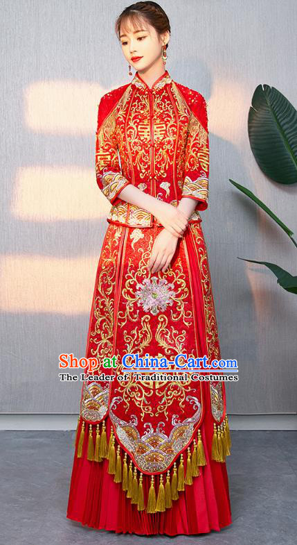 Traditional Chinese Ancient Bottom Drawer Wedding Costumes Embroidered Peony XiuHe Suit for Women