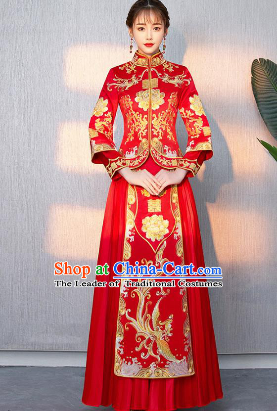 Traditional Chinese Ancient Bottom Drawer Wedding Costumes Embroidered Phoenix Peony Red XiuHe Suit for Women