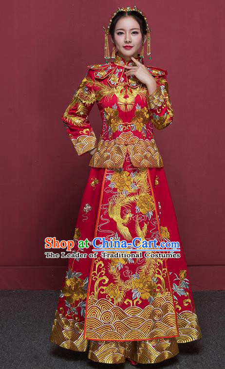 Chinese Ancient Wedding Costumes Bride Trailing Formal Dresses Embroidered Phoenix Red XiuHe Suit for Women