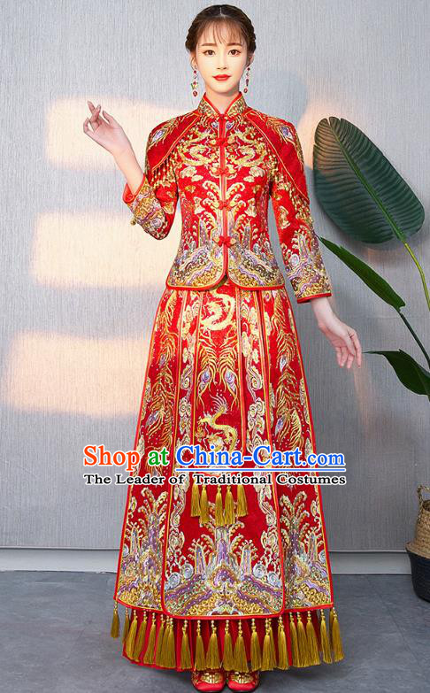 Chinese Ancient Bottom Drawer Traditional Wedding Costumes Embroidered Dragons Red XiuHe Suit for Women