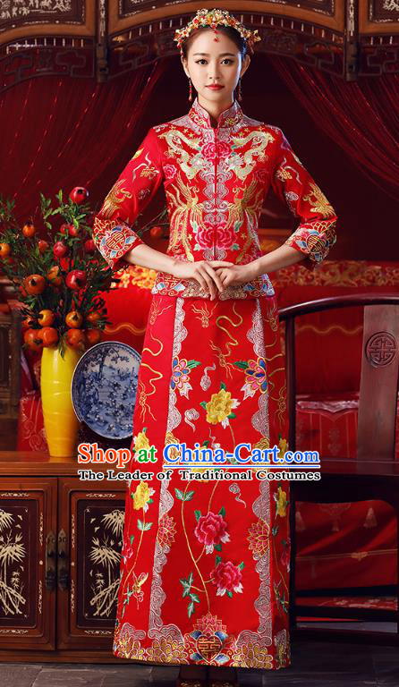 Chinese Ancient Bottom Drawer Traditional Wedding Costumes Embroidered Peony Slim XiuHe Suit for Women