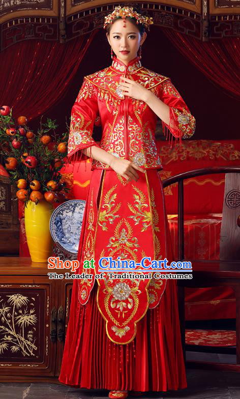 Chinese Ancient Bottom Drawer Embroidered Red XiuHe Suit Traditional Wedding Costumes for Women