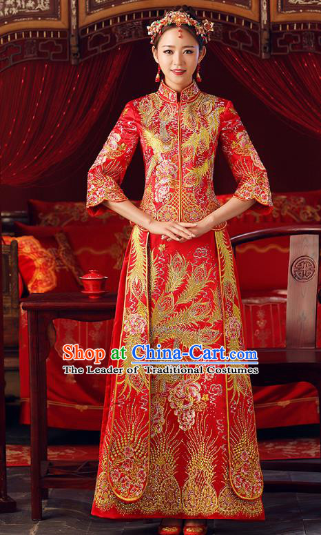 Chinese Ancient Bottom Drawer Embroidered Phoenix Peony Red XiuHe Suit Traditional Wedding Costumes for Women