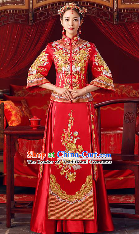 Chinese Ancient Bottom Drawer Embroidered Peony Red XiuHe Suit Traditional Wedding Costumes for Women