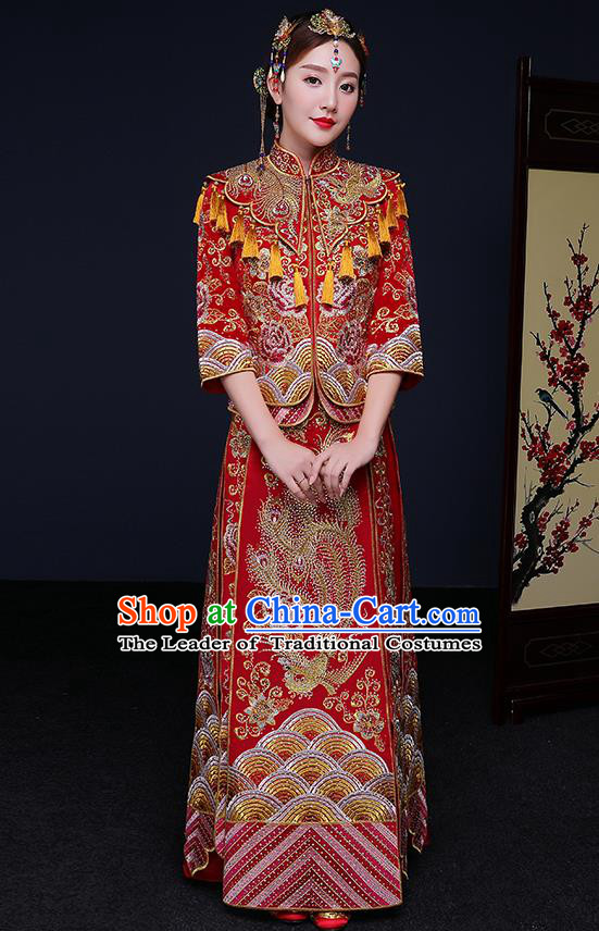 Traditional Chinese Embroidered Phoenix Peony Slim Red XiuHe Suit Wedding Costumes Full Dress Ancient Bottom Drawer for Bride