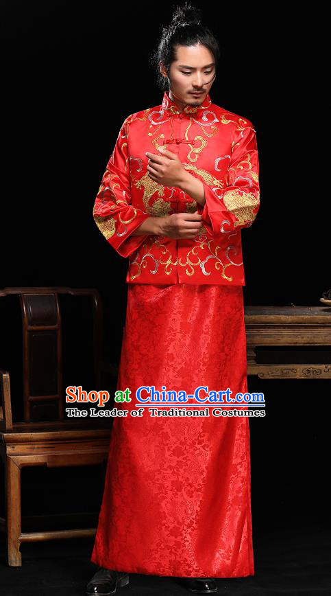 Ancient Chinese Wedding Red Toast Costumes Traditional Bridegroom Embroidered Tang Suit for Men