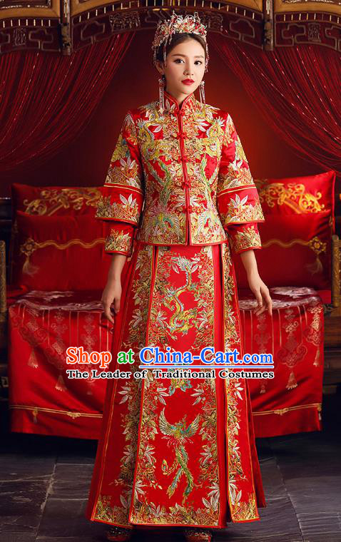 Chinese Ancient Bride Formal Dresses Embroidered Phoenix Peony XiuHe Suit Traditional Wedding Costumes for Women