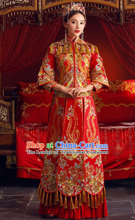 Chinese Ancient Bride Formal Dresses Embroidered Phoenix Cheongsam XiuHe Suit Traditional Wedding Costumes for Women